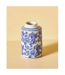 pote de cerâmica com estampa cor: azul - tamanho: único