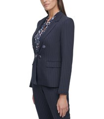 tommy hilfiger striped hook-front blazer