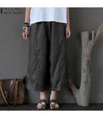 zanzea pantalones capri de pierna ancha para mujer culottes pantalones de algodón de talla grande -gris