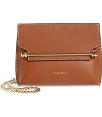 strathberry mini stylist calfskin leather convertible clutch - brown (nordstrom exclusive)