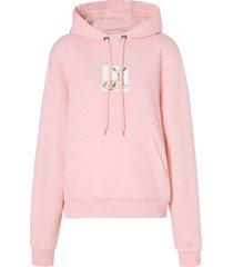 deer print pink hoodie