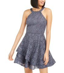bcx juniors' glitter-lace dress