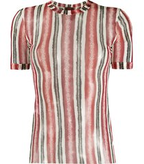 jean paul gaultier pre-owned 1990s sheer striped t-shirt - red