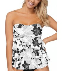 island escape aloha bloom printed tiered tankini top, created for macy's women's swimsuit