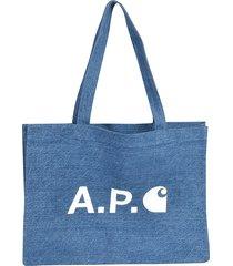 a.p.c. alan denim logo print tote