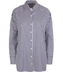 navy blue/white cotton-blend striped high-low shirt