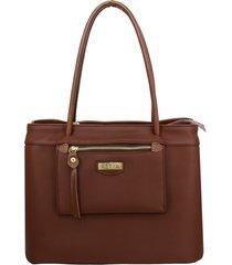bolsa de ombro grande com bolso moderno retta shoes cafã© - marrom - feminino - dafiti
