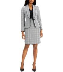 le suit petite plaid houndstooth skirt suit