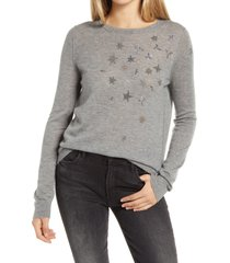women's zadig & voltaire starry cashmere sweater, size small - grey