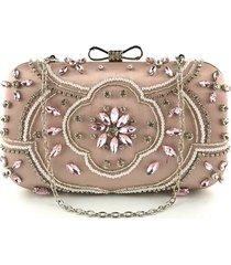 bolsa clutch liage bordada cetim metal rosa
