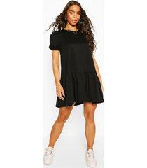 gesmokte sweatshirt jurk met pofmouwen, zwart