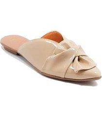 mule sapatilha verniz laço leque feminino - feminino