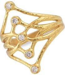 24k yellow gold & diamond topkapi scroll ring