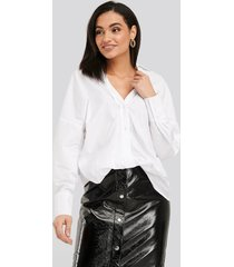 na-kd classic front knot shirt - white
