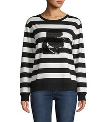 striped cotton-blend sweatshirt