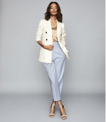 reiss astrid - wool blend double breasted blazer in ivory, womens, size 12