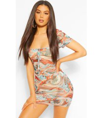marble print square neck mesh bodycon dress, turquoise