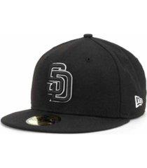 new era san diego padres black and white fashion 59fifty cap