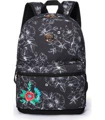 bolsa hang loose c/ flores feminina preta/branca - preto - feminino - dafiti