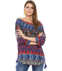 blusa desigual ml mix multicolor - calce holgado