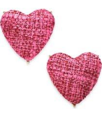inc gold-tone tweed heart stud earrings, created for macy's