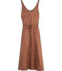 tank drawstring dress in brown sand polka dot