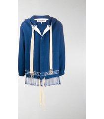 loewe fringed cotton hoodie