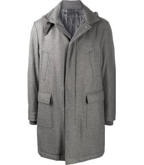 eleventy high neck wool-mix coat with neck buckle detail - grey