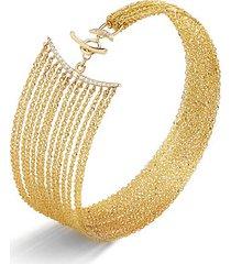 eclipse 14k gold, diamond & white sapphire bracelet