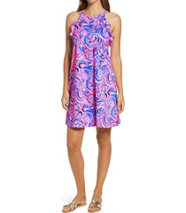 women's lilly pulitzer billie ruffle swing dress, size large - pink