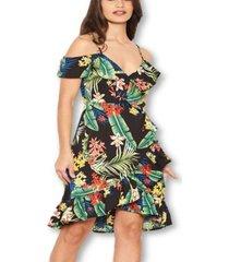 ax paris women's tropical strappy frill wrap dress