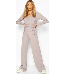 ribbed ruched top & wide leg trouser co-ord set, pale grey