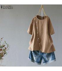 zanzea ocasional de las mujeres camiseta de manga corta top del llano asimétrico básico más el tamaño de la blusa -caqui