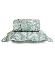 kit de 01 colcha queen com 02 porta travesseiro santista verde/branco