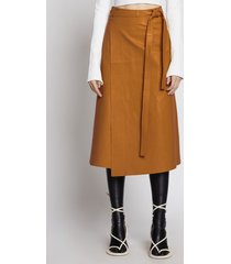 proenza schouler leather wrap skirt oak 4