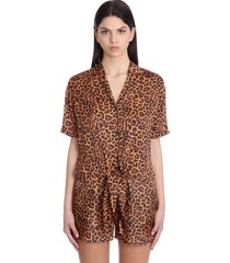 laneus shirt in animalier viscose