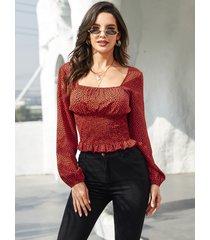 blusa de manga larga fruncida con cuello cuadrado de leopardo rojo de yoins