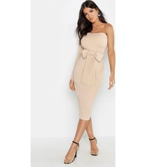 bow detail one sleeve midi dress, taupe