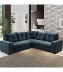 sofá de canto nigro 4 lugares azul infinito - viero móveis