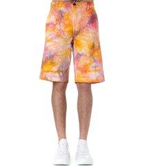 aries pink & orange cotton tie dye chino shorts