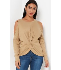 apricot pleated cold shoulder t shirt