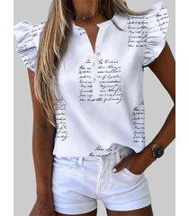 camicetta con colletto alla coreana stampata per donna