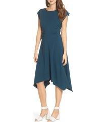 women's julia jordan ruched stretch crepe fit & flare dress, size 16 - blue/green