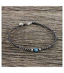 apatite and silver beaded macrame charm anklet, 'floral forevermore' (thailand)