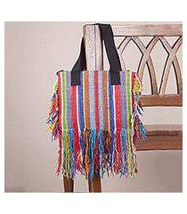 wool shoulder bag, 'fringed stripes' (peru)