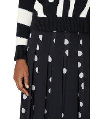carolina herrera dot print panel a-line crepe skirt, size 6 in black white at nordstrom