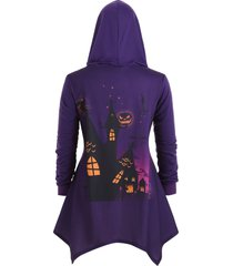 hooded bat pumpkin print plus size asymmetrical halloween coat