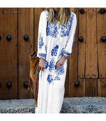 zanzea manga larga para mujer cuello en v vestido de larga impresa kaftan floja ocasional sundress -blanco