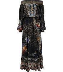 camilla treasure chaser off-shoulder shirred dress - black