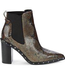 dodger snakeskin-embossed stack heel booties
